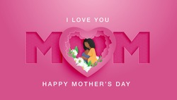 Beautiful African American woman with lovely hairstyle. Happy Mother's day poster or banner with mother hug her baby and flower and paper cut style