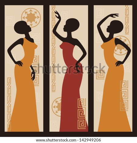 Beautiful African American women Triptych Hand drawing illustration