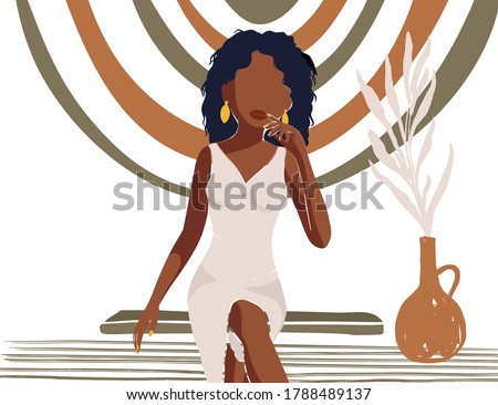 Beautiful African American young woman. Abstract vector card. Girl sitting on a bench. Fashion female beauty poster. Hand drawn textured interior print.