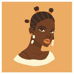 Beautiful African woman. Vector abstract modern portrait