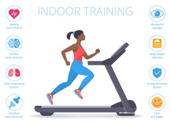 Beautiful afro-american woman is running on the treadmill. Flat vector illustration of athletic young girl in the sportswear doing exercise on the treadmill. Indoor fitness concept isolated on white.