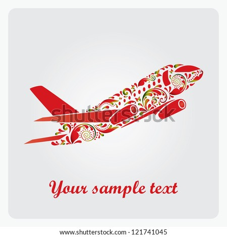 Beautiful airplane. Vector EPS10 illustration.