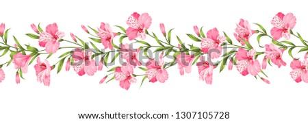 Beautiful alstroemeria on seamless pattern. Best Tropical flowers. Vector illustration. #1307105728