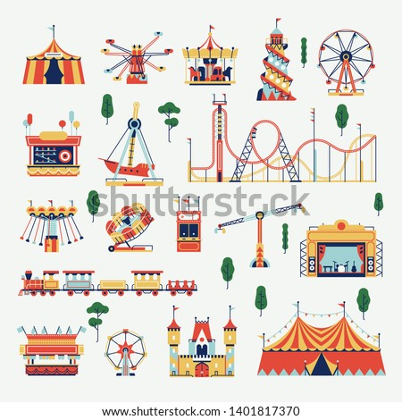Beautiful Amusement Park design elements bundle. Wide selection of summer fair or festival attractions, rides and games featuring circus tents, rollercoaster, ferris wheel, kiosks, carousels and more