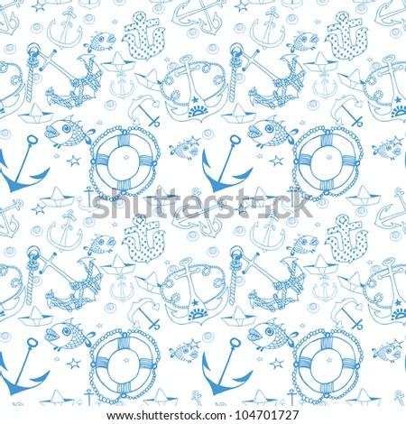 Beautiful Anchors Seamless Pattern (vector)