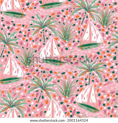 Beautiful and cute hand paint brush strokes sailboats and palm tree seamless pattern illustration vector EPS10,Design for fashion , fabric, textile, wallpaper, wrapping and all prints on pink