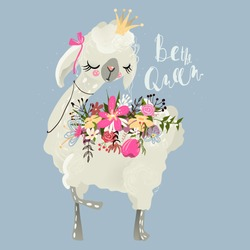 Beautiful and cute llama, alpaca with crown, beautiful flowers and tied bow. Dreaming princess or queen llama background with lettering