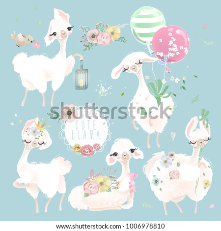 Beautiful and cute llama, alpaca with crown, beautiful flowers and tied bow set. Dreaming princess or queen llama with balloons, whimsical lantern, lamp and bird