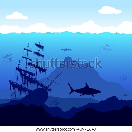 Beautiful and dangerous underwater world with sharks and old ship - vector