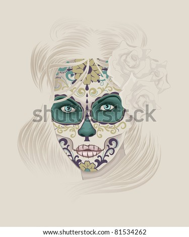 Beautiful and elegant Calavera Catrina or Sugar Skull Lady with detailed hair and face paint for Day of the Dead or Dia de los Muertos.