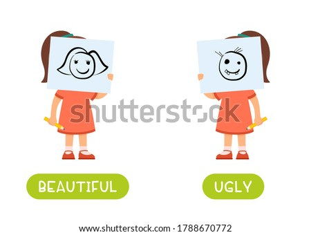 Beautiful and ugly antonyms word card vector template. Flashcard for english language learning. Opposites concept. A little girl is holding a beautiful drawing in front of her face, a child has drawn  Foto stock ©