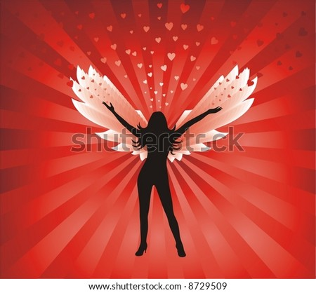 beautiful angel on shining red background