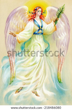 Beautiful angel with wings vector illustration