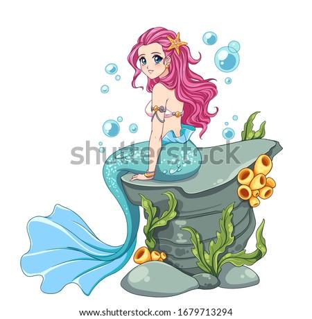 beautiful anime mermaid with
