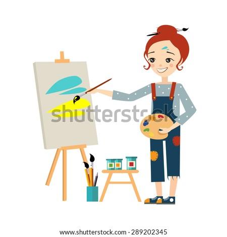 beautiful artist woman painting