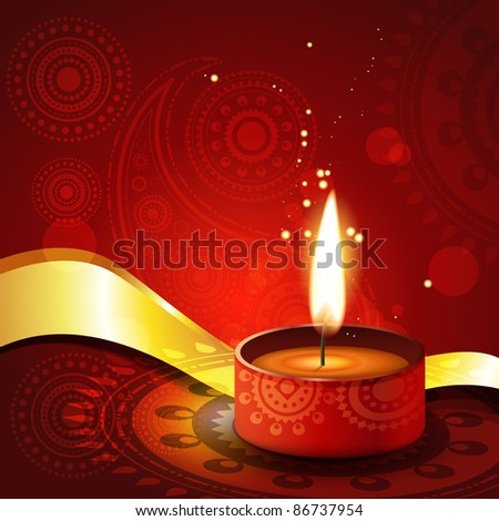 beautiful artistic diwali diya vector illustration