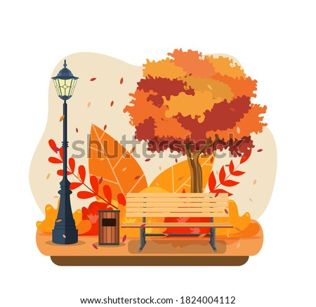 beautiful autumn city park with