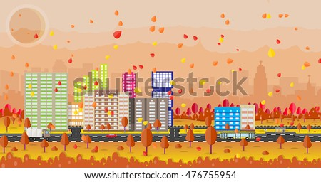 beautiful autumn city with park