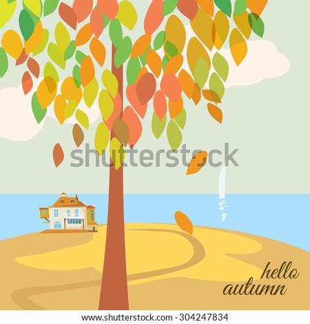 Beautiful autumn landscape hello autumn, tree with autumn leaves, a house, sea, background, vector, banner, illustration