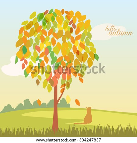 Beautiful autumn landscape hello autumn, tree with autumn leaves, cat, background, vector, banner, illustration
