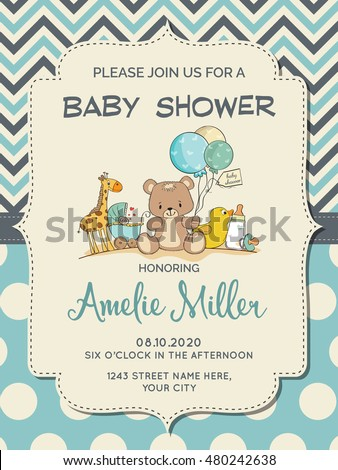 Beautiful baby boy shower card with toys, vector format