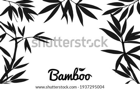Beautiful background with bamboo stem and leaves. Set of bamboo tree leaves. Hand drawn botanical collection. Drawing of parts of bamboo and sections of branches and leaves  on a white background.  Photo stock ©