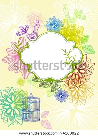 Beautiful background with cage and flowers, bright vector illustration
