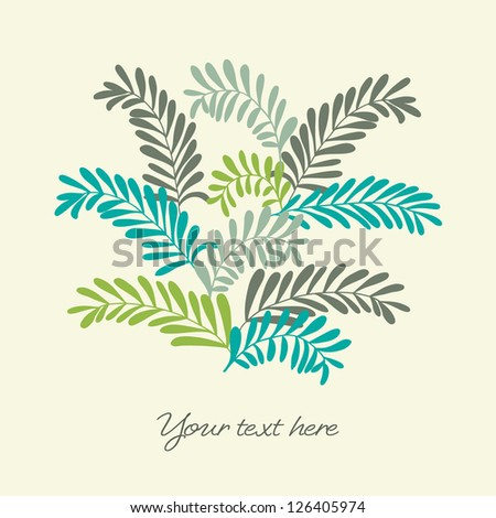 Beautiful background with color leafy branches. Vector illustration