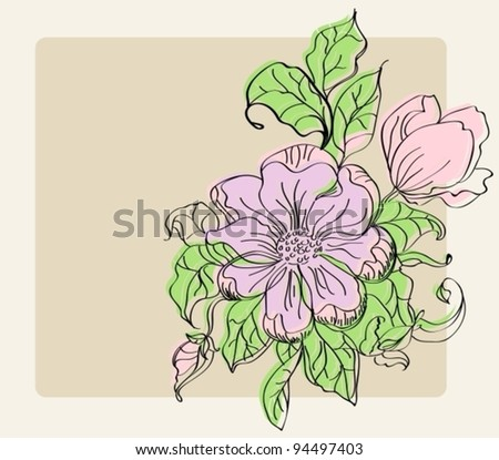 Beautiful background with colorful flowers, vector illustration