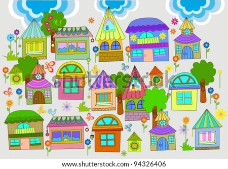 Beautiful background with colorful houses,vector  illustration