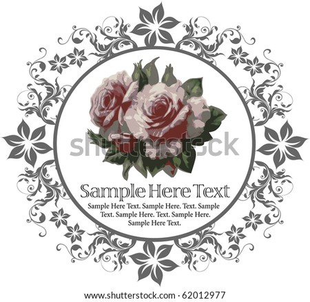 Beautiful background with flower drawing. Greeting card.  Roses. Retro.