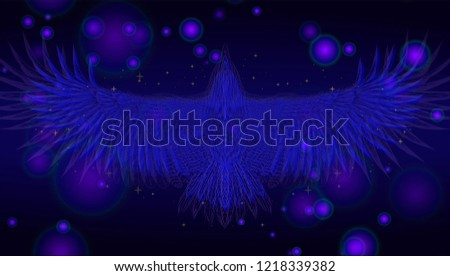 Stock Photo Beautiful background with hand drawn nature patter.Poster with flying bird on the dark background and glows.To be used for invitation card, wedding card, poster for beaty salon, invitation card, cover