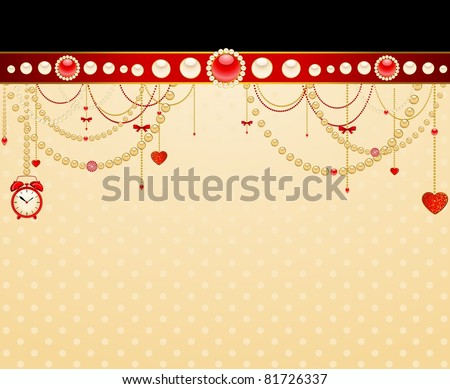 Beautiful background with lace ornaments and beads. Vector