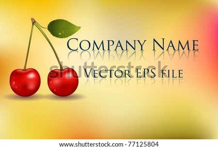 Beautiful background with red cherry. Harmonic colors, beautiful design.