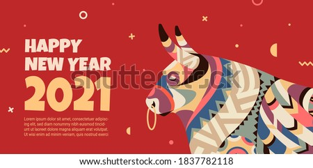 Beautiful banner with a bull in the style of the tribe and the text of the New Year. The banner can be used for advertising, congratulations, discounts. Bull symbol 2021.