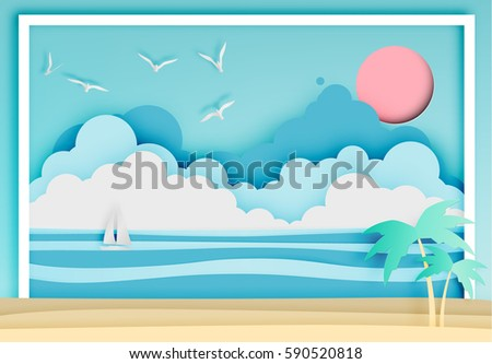 Beautiful beach paper art style with frame vector illustration