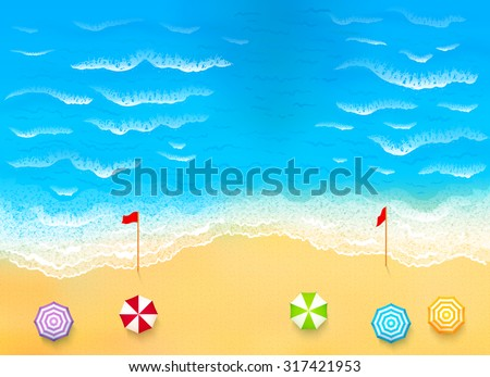 Beautiful beach with waves, rip current vector illustration