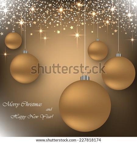 Beautiful beige background with golden balls. Vector  illustration