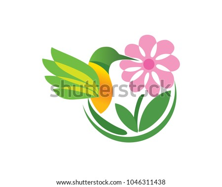 Beautiful Bird Finding Nectar in A Flower Logo In Isolated White Background