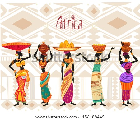 Beautiful black African woman in ethnic dress on tribal ornament background. Africa theme. Poster or card template. Doodle style freehand lettering.