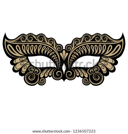 Beautiful black and gold masquerade mask. Vector illustration isolated on white background.