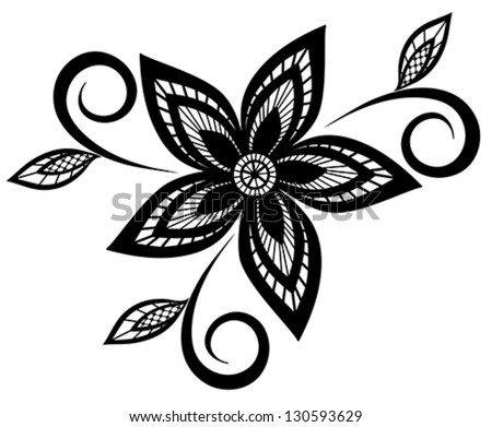 Black And White Flowers Shape Pattern Download Free Vector Art