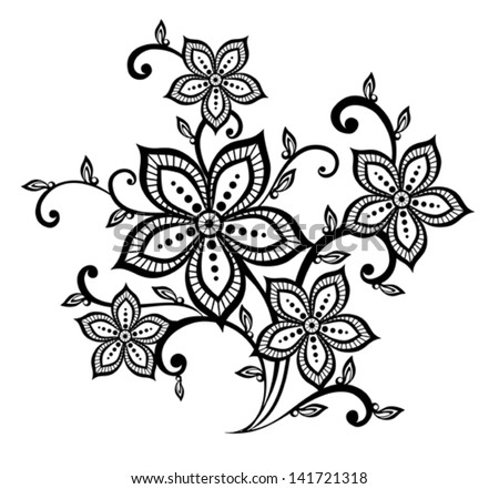 Beautiful Black And White Floral Pattern Design Element. Many ...