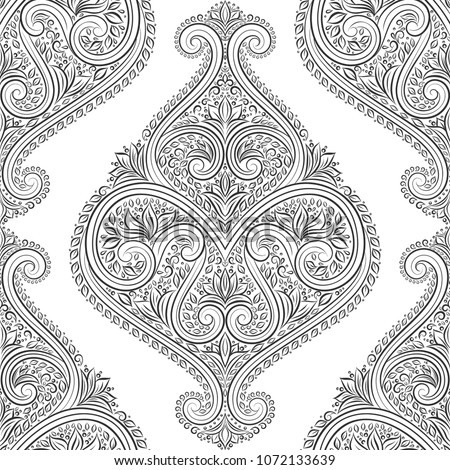 Beautiful black and white floral seamless pattern. Vintage, paisley elements. Traditional, Ethnic, Turkish, Indian motifs. Great for fabric and textile, wallpaper, packaging or any desired idea.