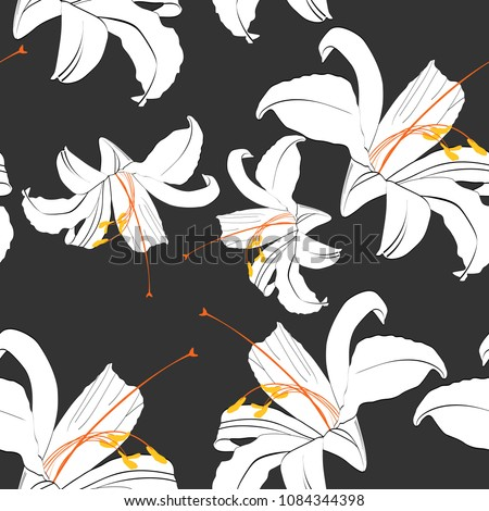 Beautiful black and white seamless pattern with lilies. Hand-drawn contour lines. design greeting card and invitation of the birthday, Valentine's Day, mother's day, other holiday. Black background.
