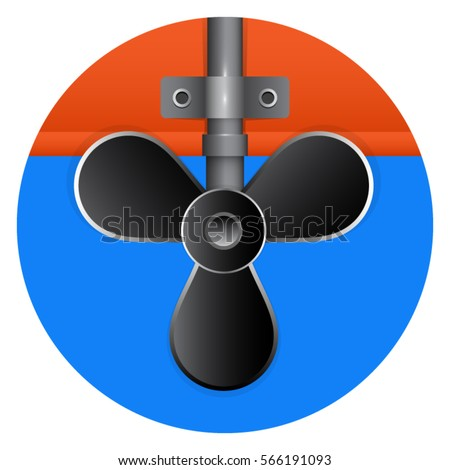 Beautiful black boat propeller on a round blue background.Concept image for rental boats. Repair of boats. Boat parts.