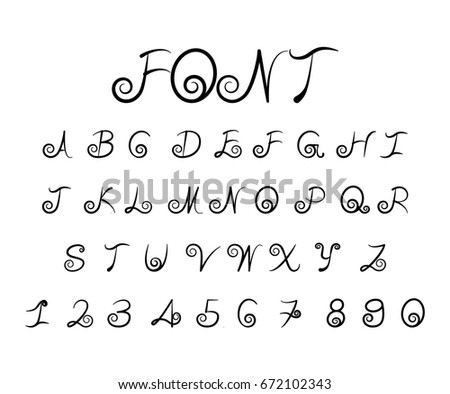 Beautiful Black Font Vector Alphabet With Chrome Effect Letters And Numbers