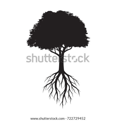 Beautiful Black Tree with Leaves. Vector Illustration.