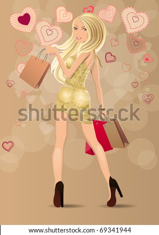 Beautiful blond carrying bags with stylized contour hearts - stock vector