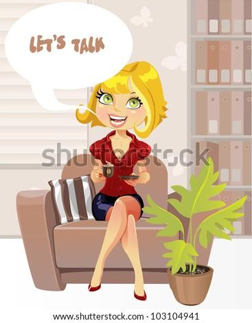 beautiful blond girl in brown